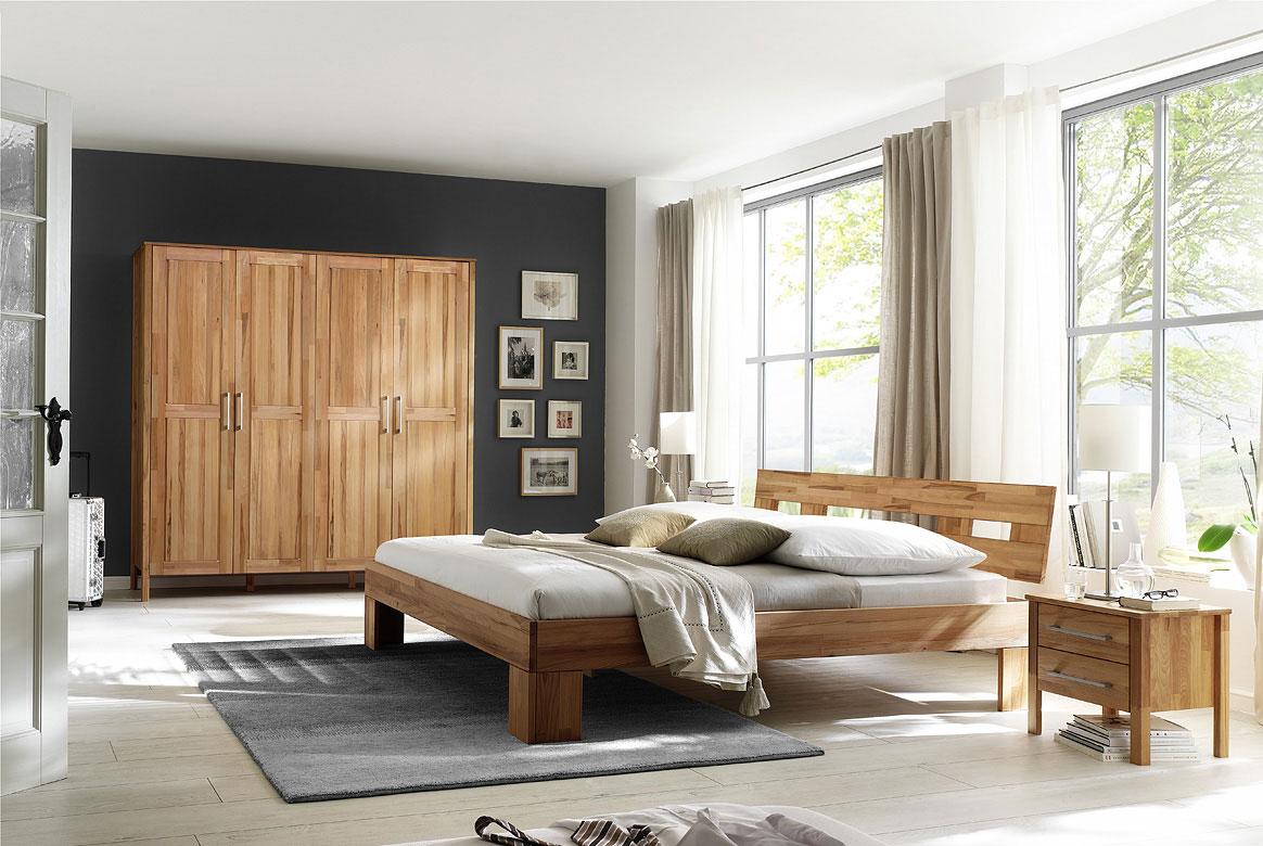 Schlafzimmer Massivholz mit Kleiderschrank 4 türig ohne Schuhbkästen Modset | SK04