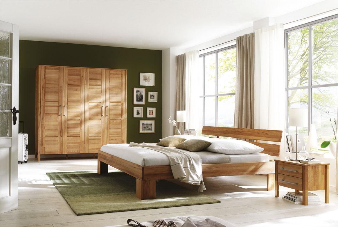 Schlafzimmer Massivholz mit Kleiderschrank 4 türig ohne Schuhbkästen Modset | S04