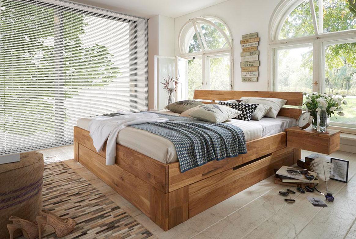 Abbildung Massivholz Bett Wildeiche geölt 180 cm | B04