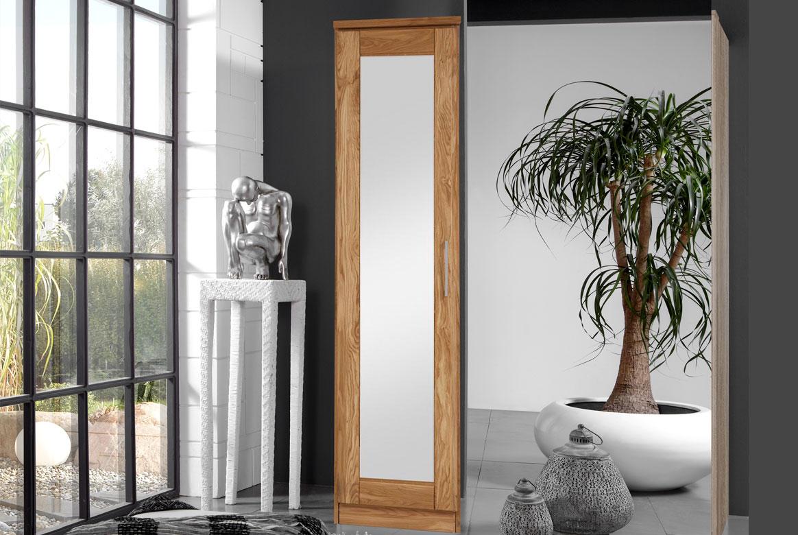 Abbildung Kleiderschrank Massivholz Wildeiche 1 Spiegeltüre | TS1