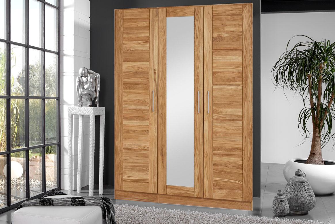 Abbildung Kleiderschrank Massivholz Wildeiche 3 türig mit Spiegel | TS3