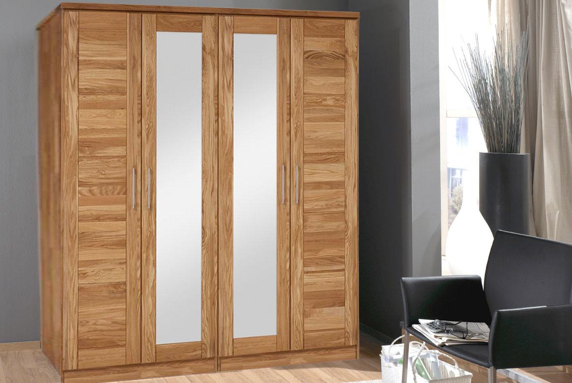Abbildung Kleiderschrank Massivholz Wildeiche 4 türig mit Spiegel | TS4