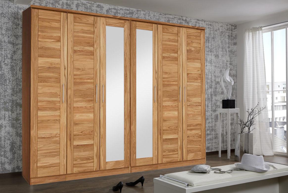 Abbildung Kleiderschrank Massivholz Wildeiche 6 türig mit Spiegel | TS6