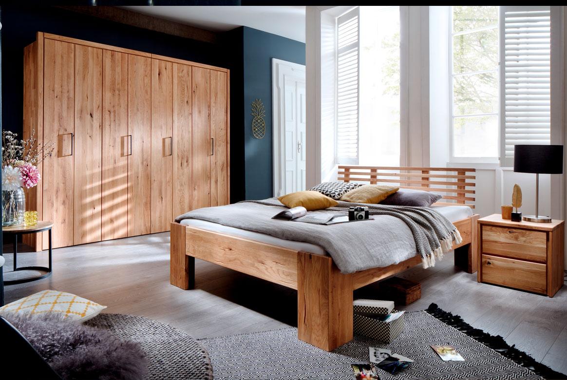 Schlafzimmer Massivholz mit Kleiderschrank 4 türig Wildeiche Rödvig | S04