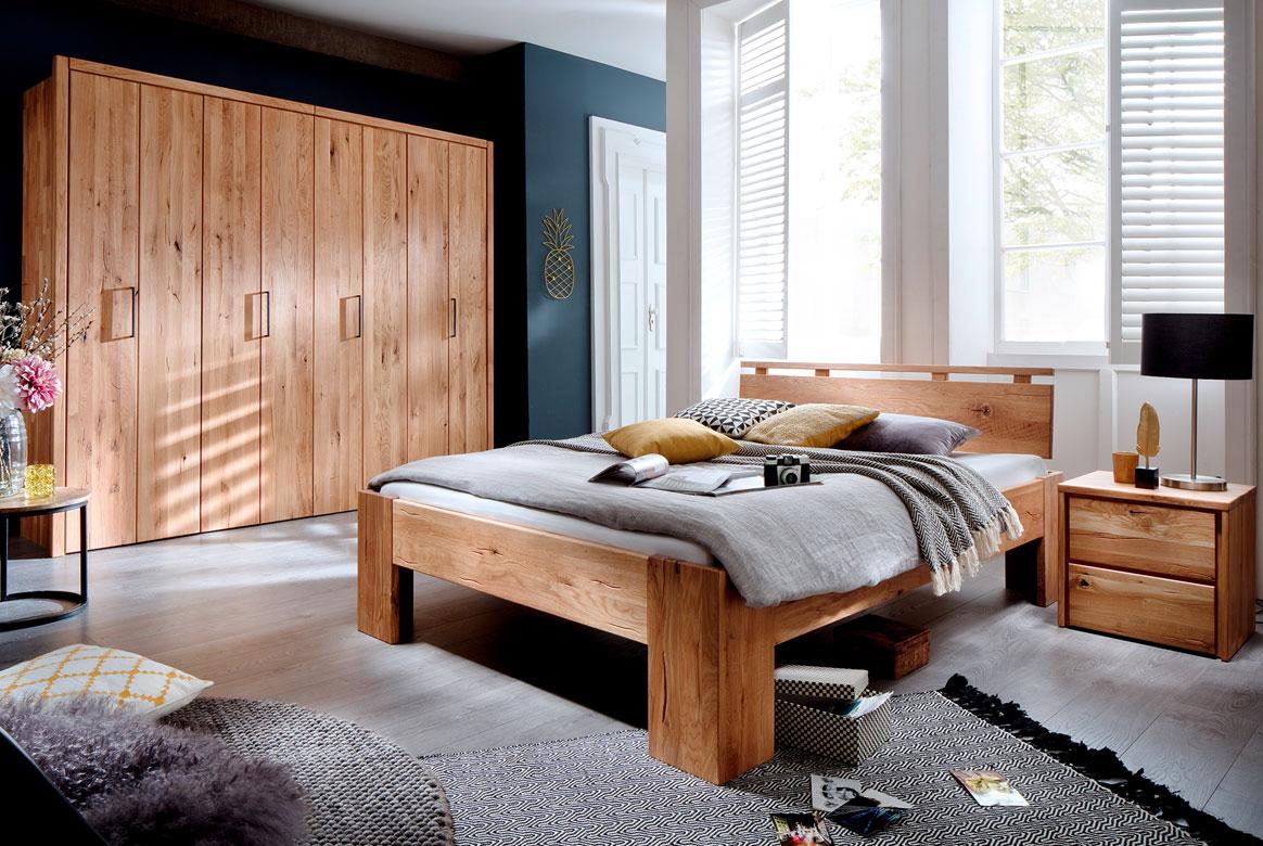 Schlafzimmer Massivholz mit Kleiderschrank 4 türig Wildeiche Rödvig | S05