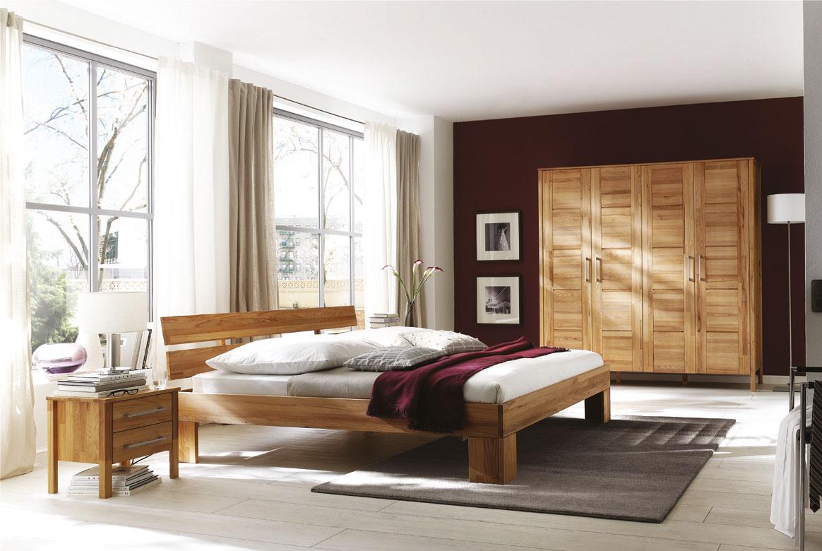 Massivholz Schlafzimmer mit Kleiderschrank 4 türig Zenna