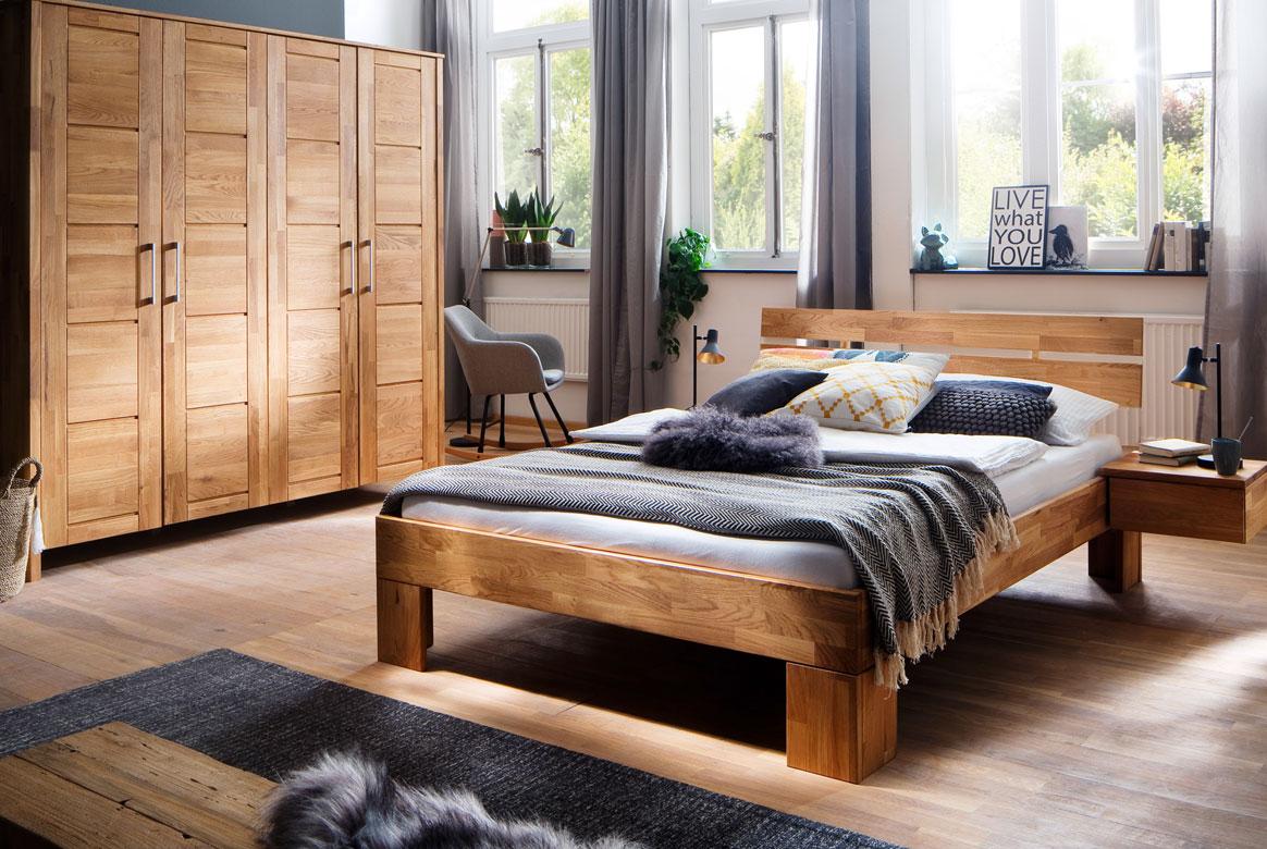 Schlafzimmer Massivholz | Zent | Wildeiche geölt | S14M
