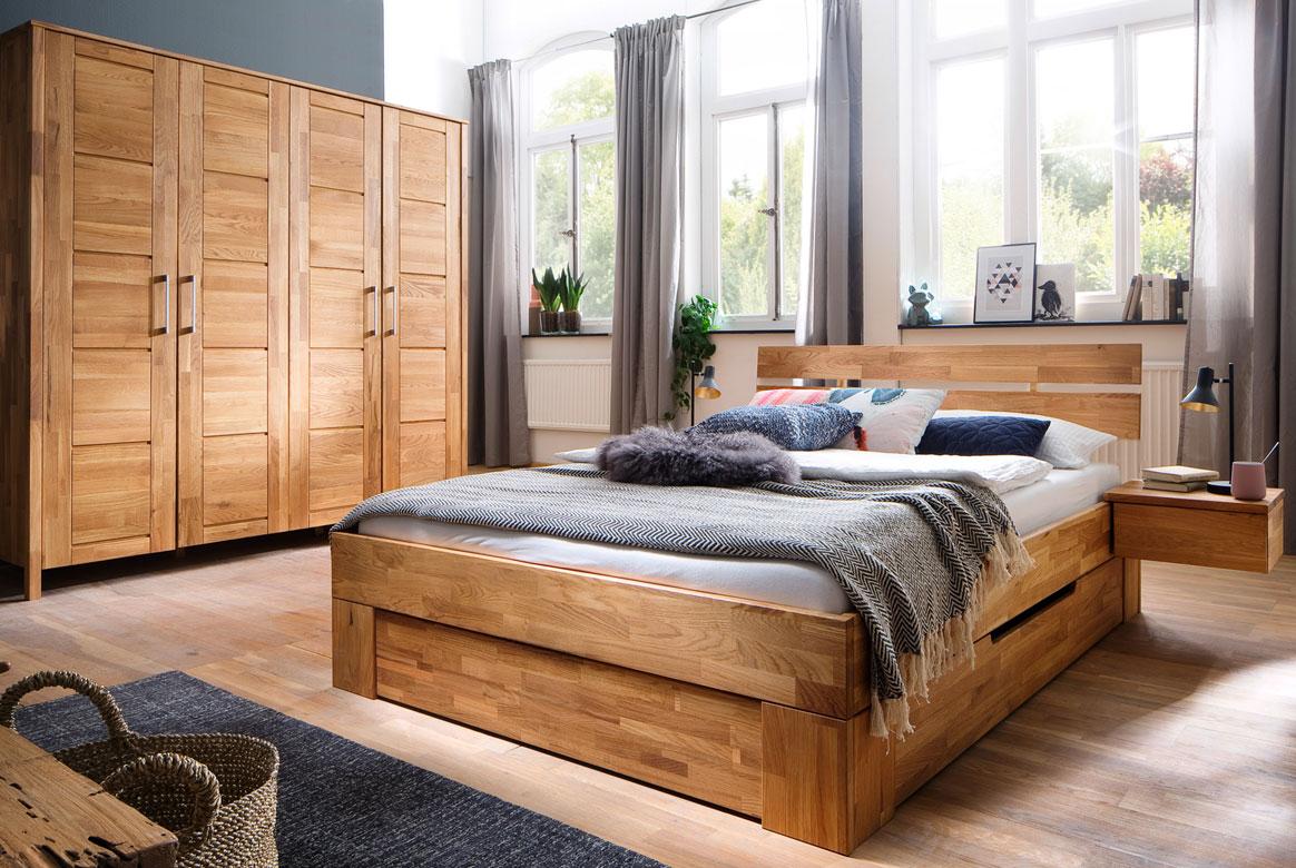 Schlafzimmer Massivholz | Zent | Wildeiche geölt | SC24