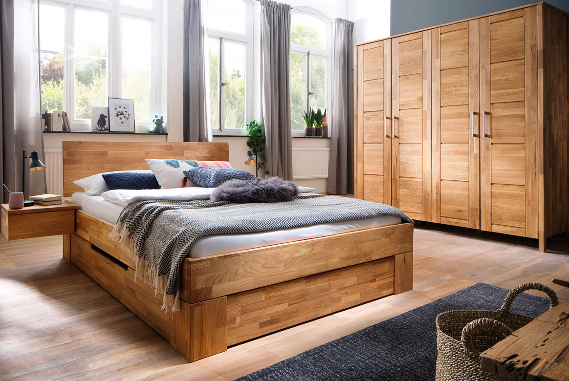Schlafzimmer Massivholz | Zent | Wildeiche geölt | SC12