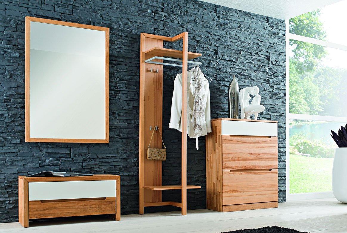 Abbildung Garderoben Set Massivholz Kernbuche Absetzung geriffelt Arcona
