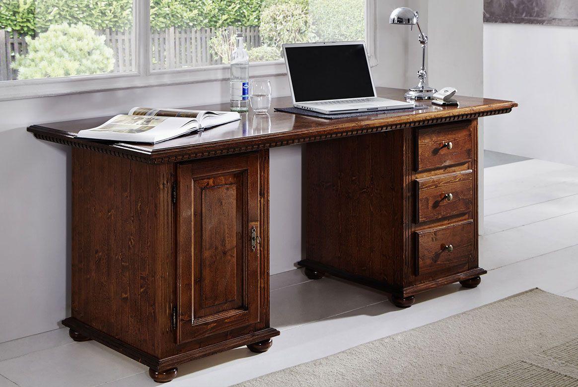 Landhaus Schreibtisch massiv Fiche bassano lackiert Valentina