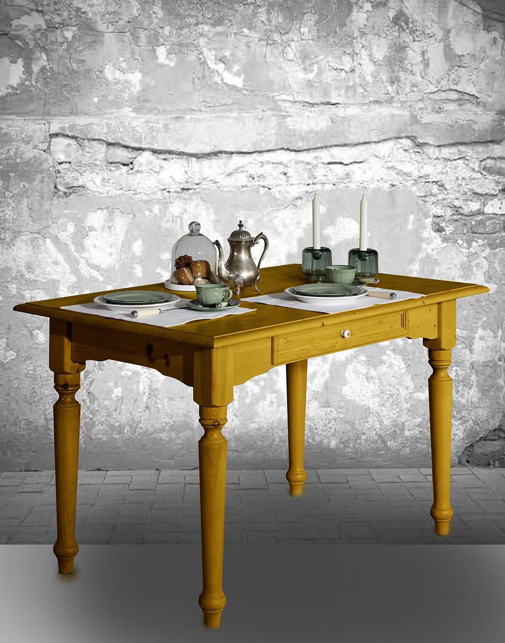 Abbildung Tisch Alina in gelb lackiert.