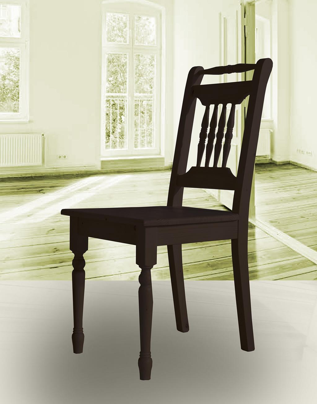 Landhaus Stuhl massiv Fichte Alina wenge lackiert.