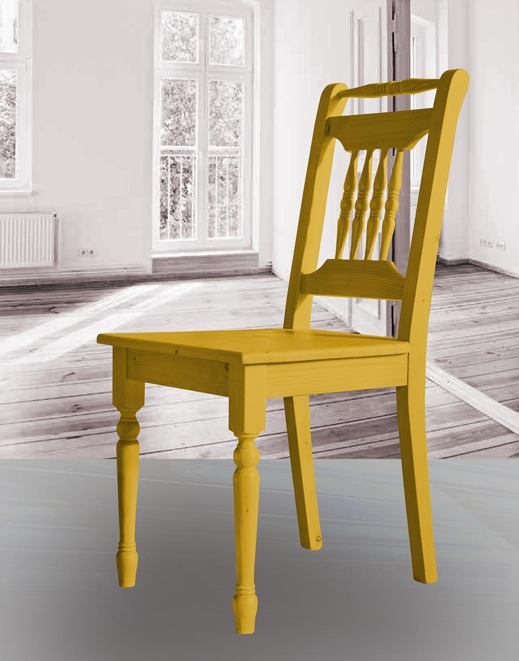 Landhaus Stuhl massiv Fichte Alina kadmiumgelb lackiert.