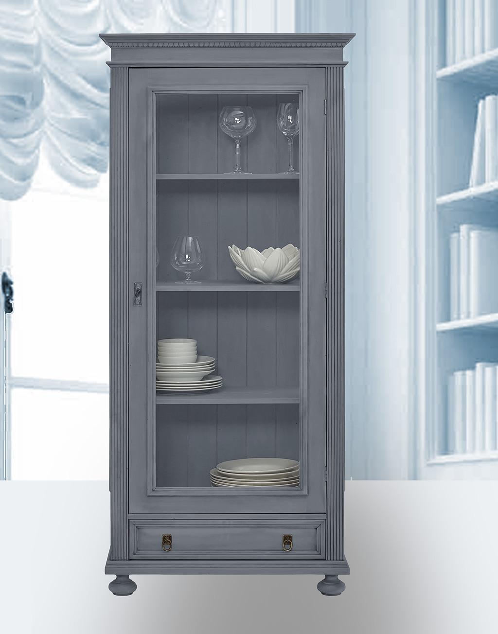 Landhaus Glasvitrine massiv Fichte Alina delphingrau lackiert.