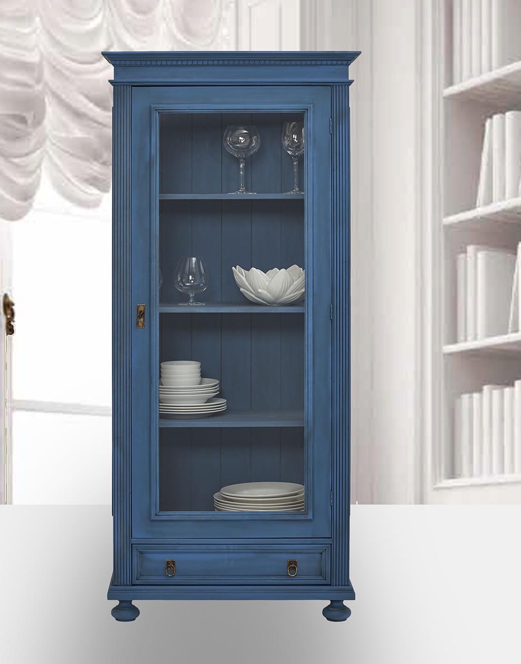 Landhaus Glasvitrine massiv Fichte Alina scubablau lackiert.