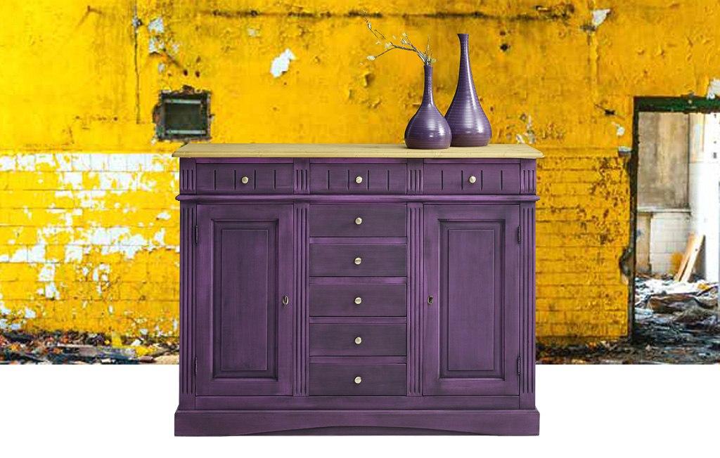Landhaus Highboard massiv Fichte Lara violett lackiert.
