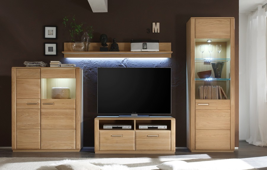 wohnwand komplett modern sena kernbuche o eiche. Black Bedroom Furniture Sets. Home Design Ideas