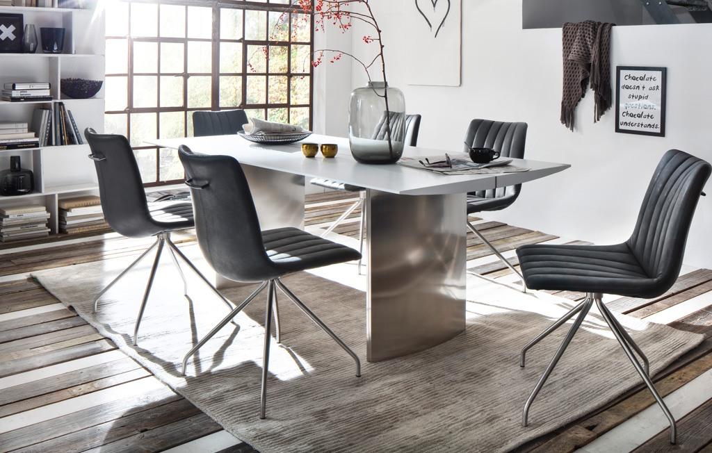 Säulentisch Gideon Esstisch matt lackiert mit Edelstahlapplikation mittig.