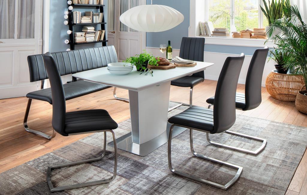 esstisch wei matt hanjo synchronauszug ha16. Black Bedroom Furniture Sets. Home Design Ideas