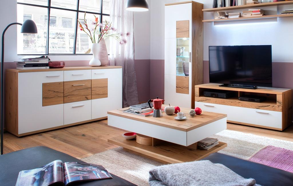 couchtisch wei modern nizza crackeiche furniert t65. Black Bedroom Furniture Sets. Home Design Ideas