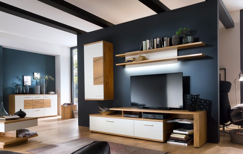 Wohnwand modern wei nizza absetzung crackeiche w03 for Moderne wohnwand bilder