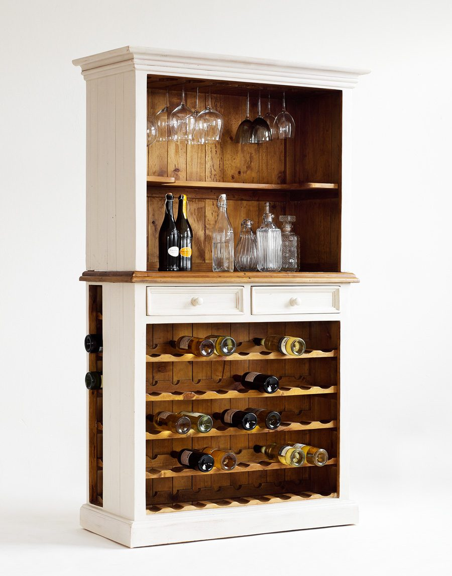 Buffet mit Weineinsatz massiv Recycle-Kiefer weiß Bodde.
