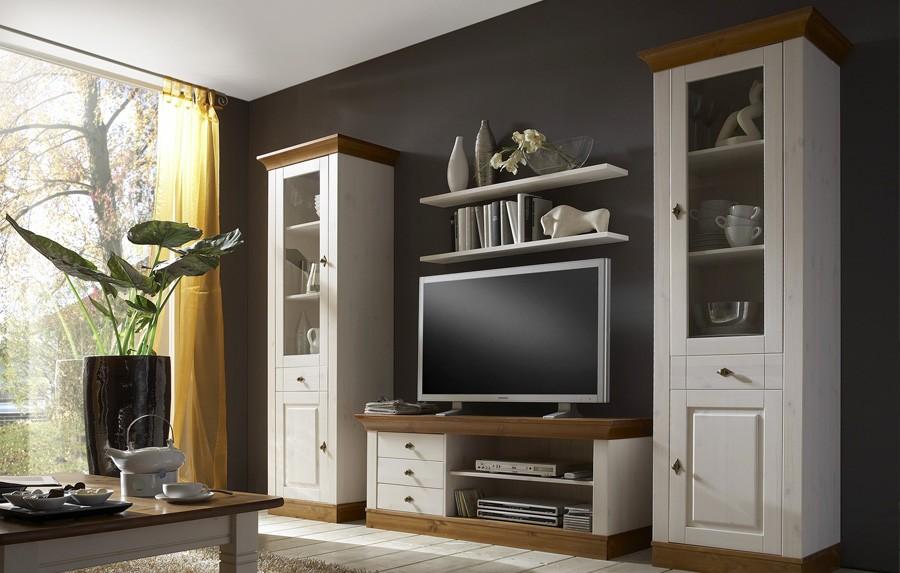 Vitrine landhausstil linea kiefer massivholz weiss for Farbvarianten wohnzimmer