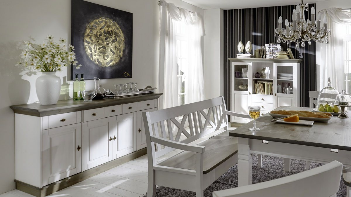 sideboard landhausstil weiss linea anrichte kiefer massivholz t47 ebay. Black Bedroom Furniture Sets. Home Design Ideas