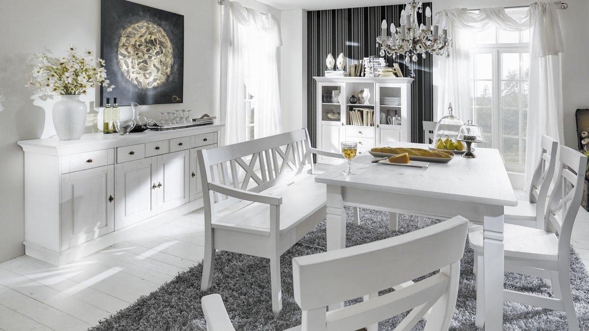 sideboard landhausstil linea massivholz kiefer wei t42. Black Bedroom Furniture Sets. Home Design Ideas