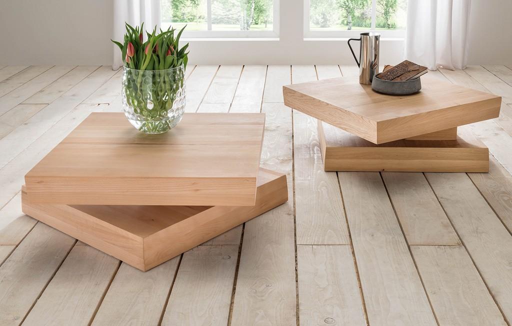 Couchtisch massivholz Tischplatte drehbar Eiche geölt - Kernbuche Fred.