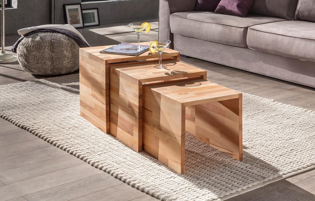 Couchtisch 3er Set massiv - natur Eiche - Kernbuche geölt Triple Woodlive Massivholzmöbel.