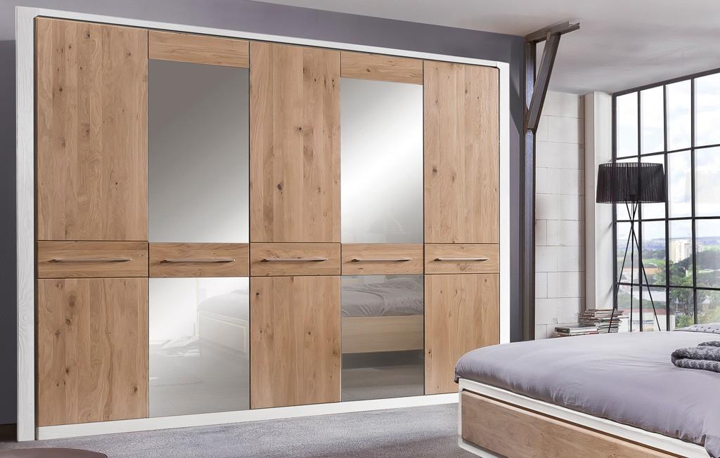 Kleiderschrank moderner Landhausstil 5 türig Asteiche Bianco Elba MMI Möbel