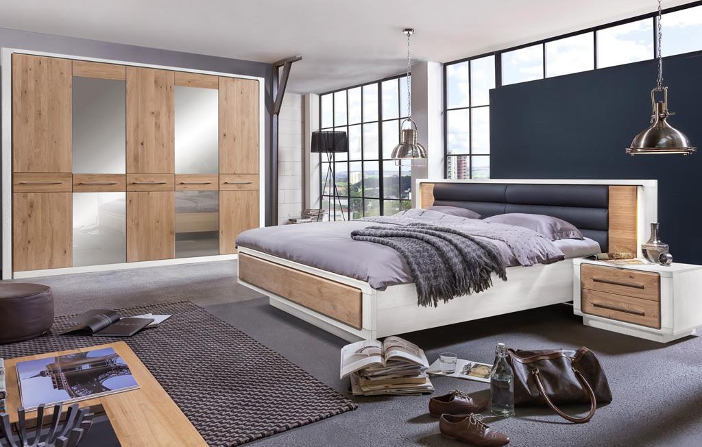 Schlafzimmer Set Bett 180x200 mit Kleiderschrank Landhausstil 5 türig Asteiche Bianco Elba