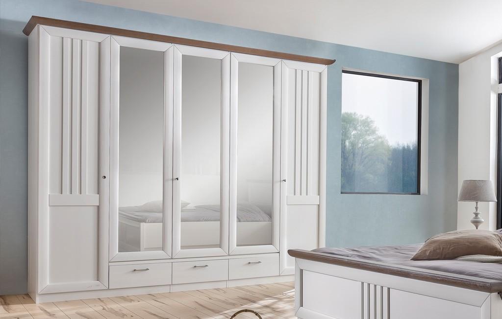 Eleganza Kleiderschrank moderner Landhausstil 5 türig MMI Möbel