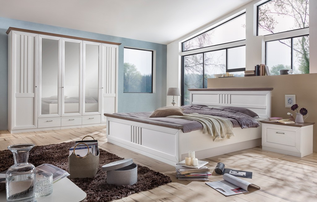 Schlafzimmer Set Landhausstil mit Kleiderschrank 5 türig Kiefer massiv Eleganza MMI Möbel