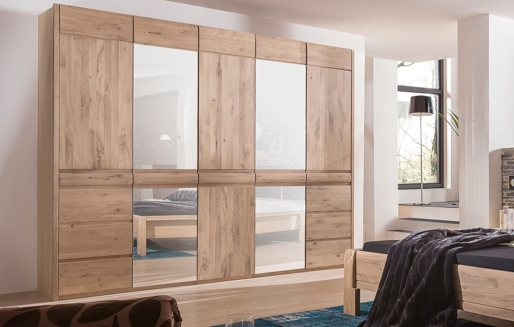 Kleiderschrank Landhausstil modern Asteiche Bianco Ottowa 5 türig MMI Möbel