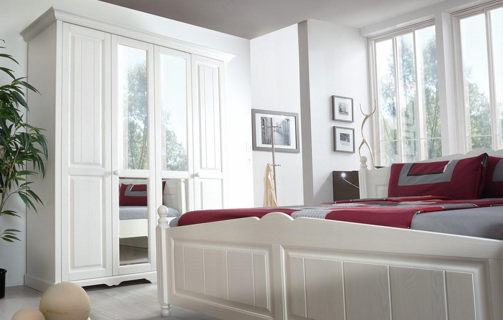 Schlafzimmer Landhaus weiß teilmassiv Pisa