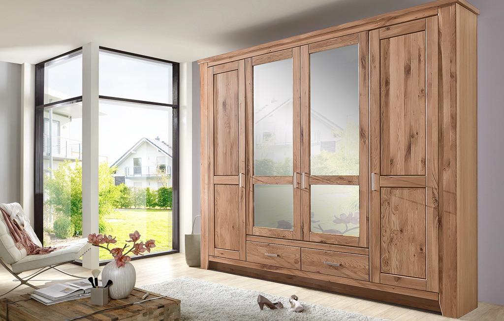 Kleiderschrank Landhausstil modern Asteiche Bianco Toronto 4 türig MMI Möbel