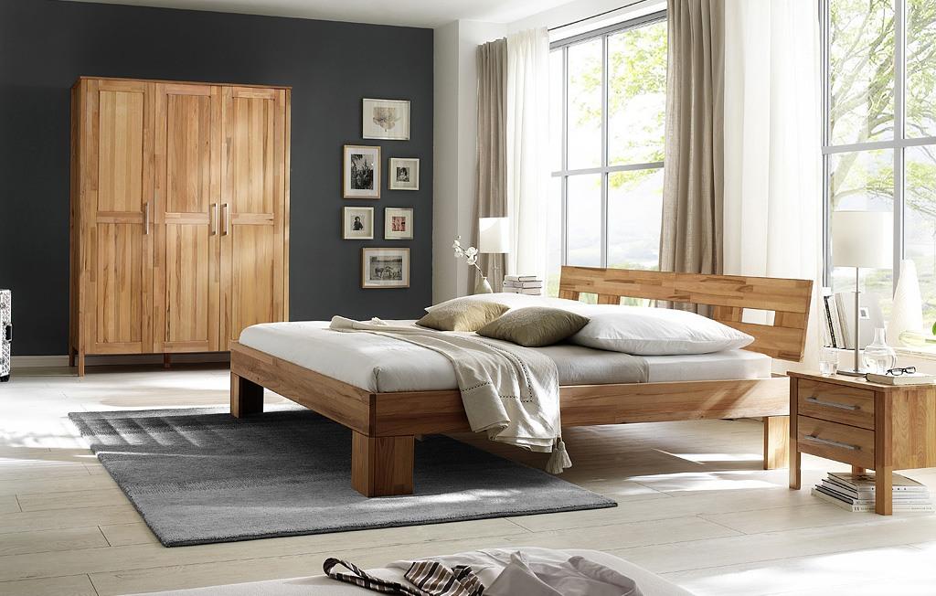 Massivholz Schlafzimmer mit Kleiderschrank 3 türig ohne Schuhbkästen Modset