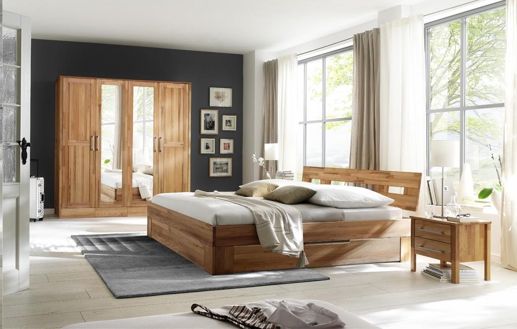 Massivholz Schlafzimmer mit Kleiderschrank 4 türig ohne Schuhbkästen Modset