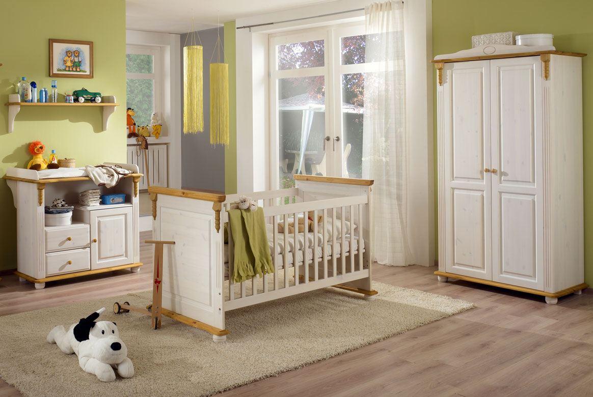 Abbildung Babyzimmer Set Massivholz weiß / gebeizt-geölt Kiefer | Roma
