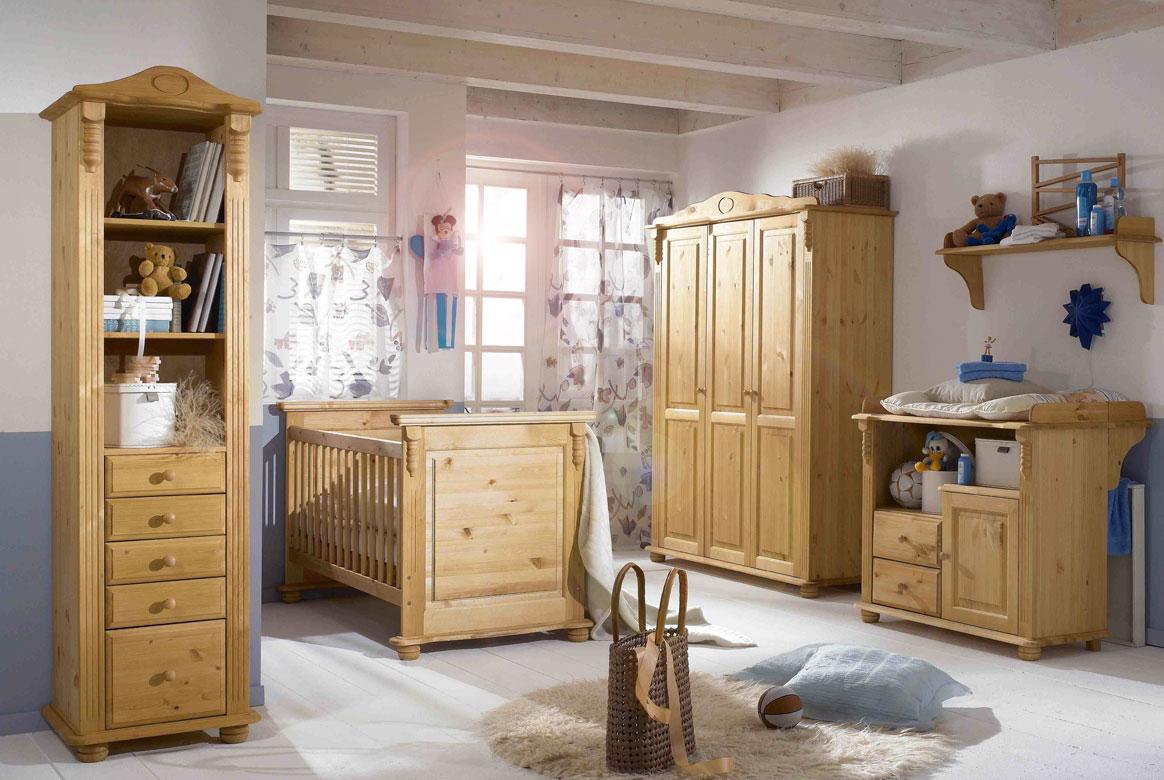 Abbildung Babyzimmer Set Massivholz gebeizt/geölt Kiefer | Roma