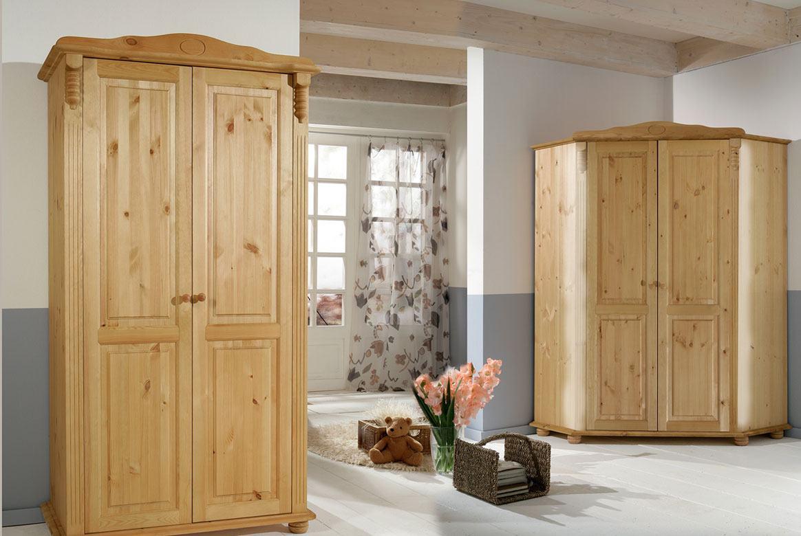 Abbildung Kleiderschrank Romantik weiss -laugenfarbig Kiefer massiv Roma | T21