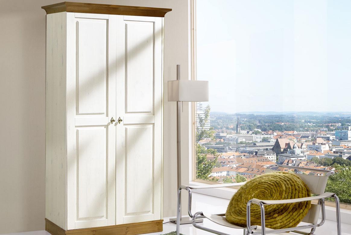 Abbildung Massivholz Kleiderschrank 2 türig weiss - provencefarbig Linea | T02