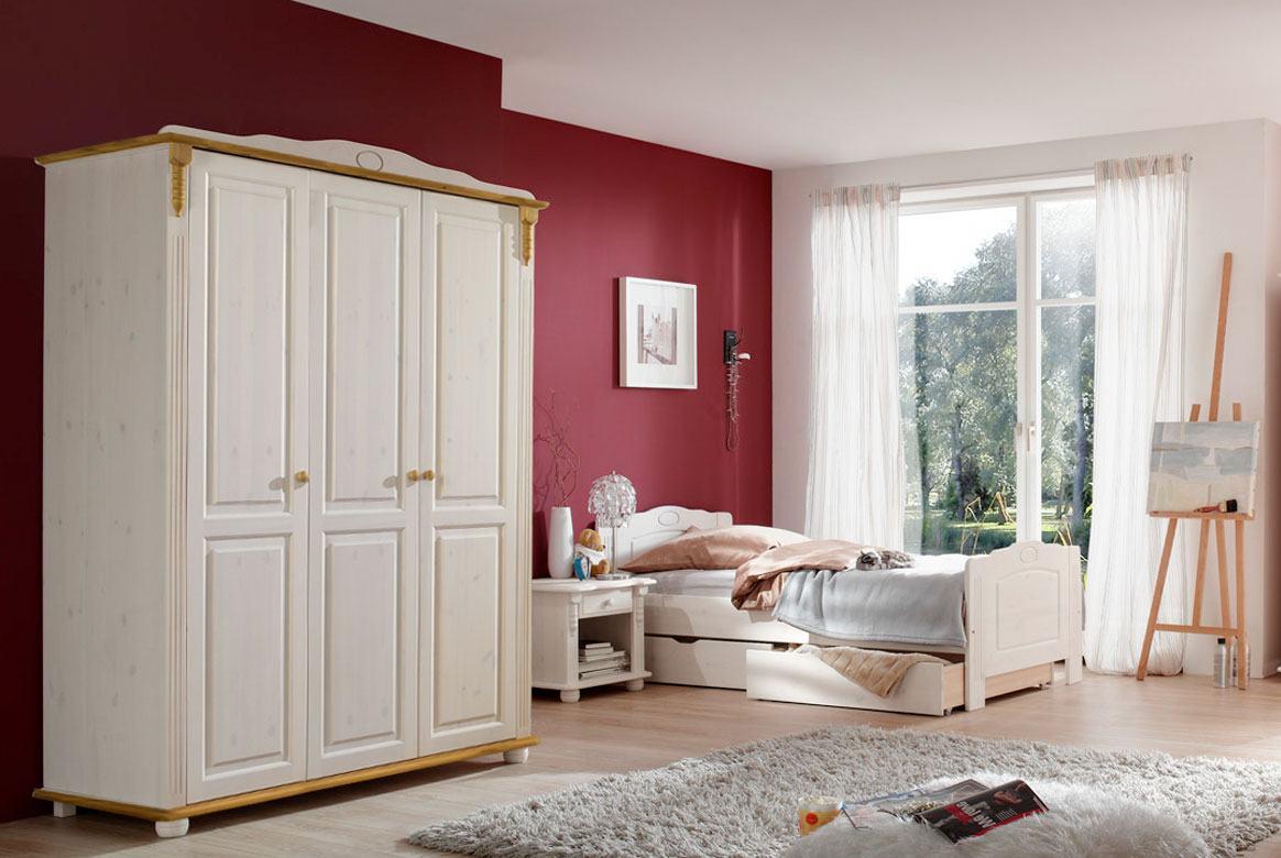 Abbildung Kinderzimmer Set Massivholz weiss gewachst - laugenfarbig Kiefer | Roma