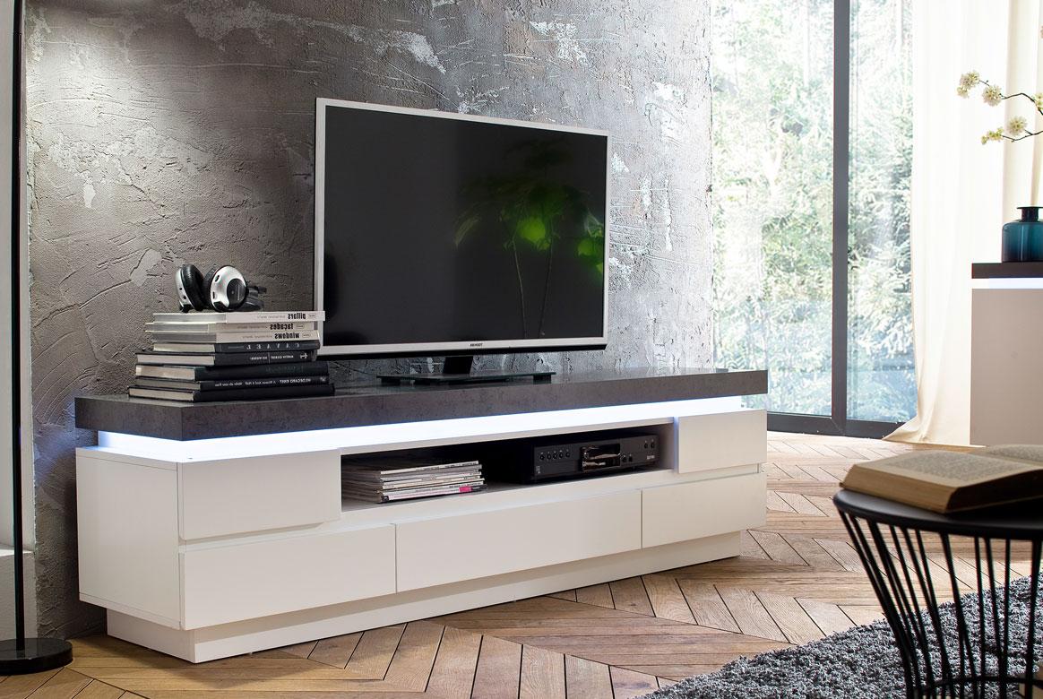 lowboard modern weiss atlanta absetzung beton t72. Black Bedroom Furniture Sets. Home Design Ideas