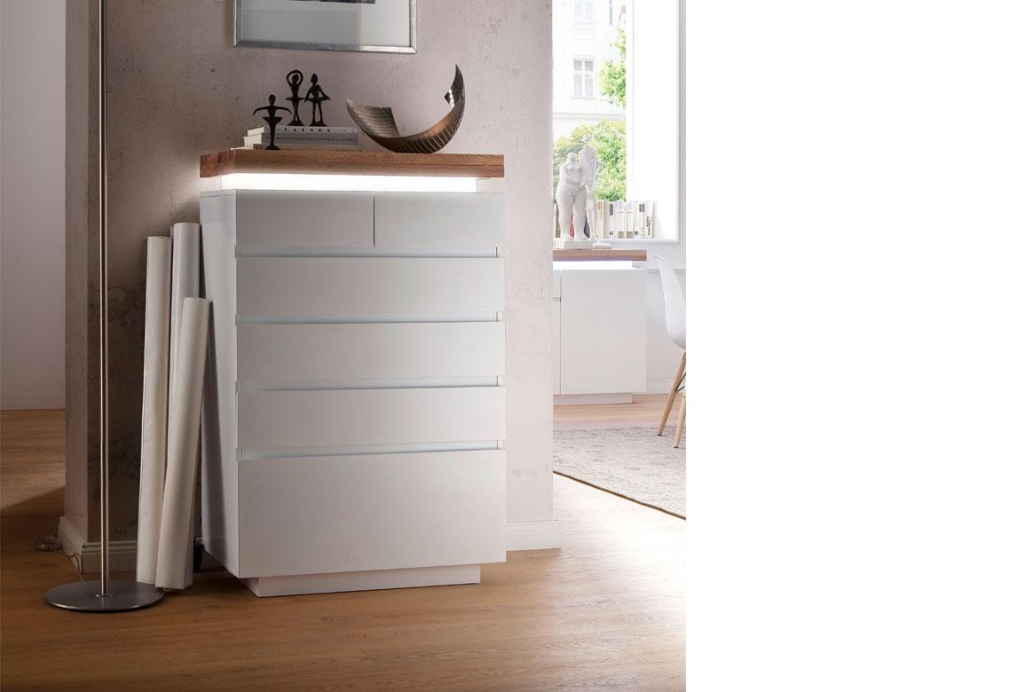 kommode modern wei romina absetzung asteiche massiv t97. Black Bedroom Furniture Sets. Home Design Ideas