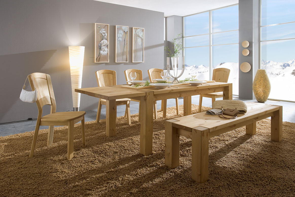 Tischgruppe Kiefer massiv gebeizt - geölt Vita