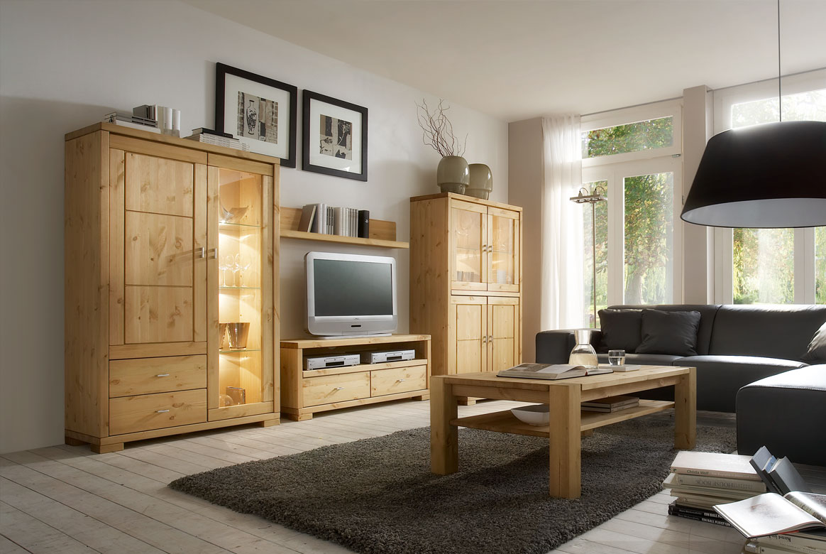 Wohnwand Landhausstil | Guldborg - Vita | Massivholz Kiefer | W11